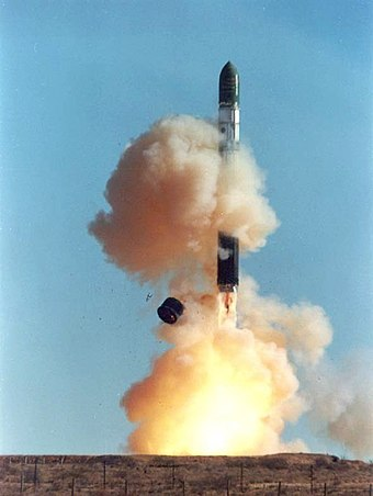 An R-36 ballistic missile launch at a Soviet silo Dnepr rocket lift-off 1.jpg