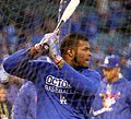 Dodgers outfielder Yasiel Puig takes batting practice before NLCS Game 6. (30388282532).jpg