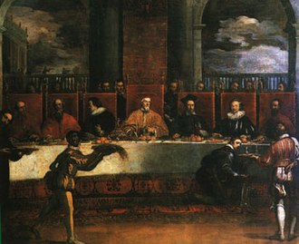 Giovanni I Cornaro - Painting by Filippo Zaniberti showing Cornaro giving a state banquet at the Doge's Palace.