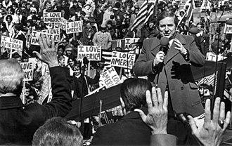 "Jerry Falwell - Falwell at an ""I Love America"" rally in 1980"