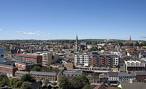 Drogheda in 2005, overlooking the river and St Peter's Church.