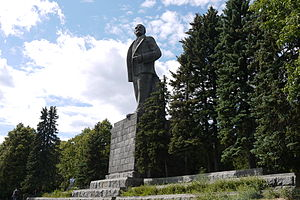 Civil religion - Statue of Lenin at Dubna, Russia, built in 1937; it is 25 metres tall