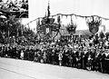 Duke of Gloucester visit, City of Footscray's stand, St Kilda Road, Melbourne, 1935.jpg
