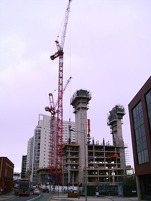 Meridian Gate, Cardiff - Meridian Gate during construction in 2007