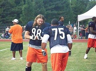 Dusty Dvoracek - Dvoracek and Matt Toeaina during training camp in 2008