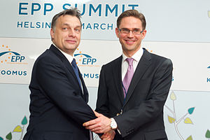 Second Orbán Government - Orbán with Jyrki Katainen in at an EPP in Helsinki, March 2011