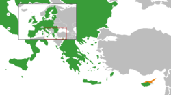 Map indicating locations of European Union and Northern Cyprus