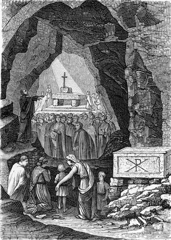 Culte chrétien clandestin dans les Catacombes Saint Calixte à Rome.