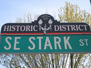 Buckman, Portland, Oregon - East Portland-Grand Ave Historic District street sign topper in the Buckman Neighborhood