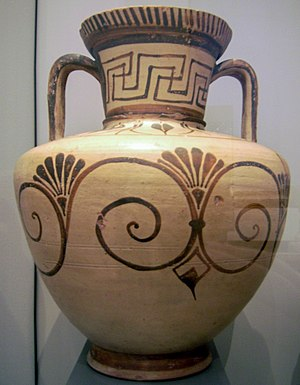 Orientalizing period - New motifs on an East Greek vase: the palmette and volute