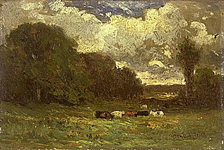 Untitled (landscape with cows and trees)