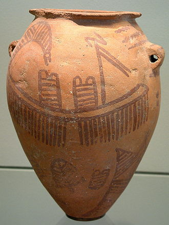 Prehistoric Egypt - A typical Naqada II pot with ship theme