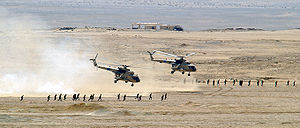 Mil Mi-17 - Two Egyptian Mi-17 helicopters after unloading troops during an exercise in October 2001