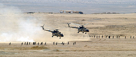 Two Egyptian Mi-17 helicopters after unloading troops during an exercise in October 2001. - Mil Mi-17
