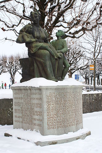 Paracelsus - Memorial in Einsiedeln, erected in 1941 on the occasion of the 400th anniversary of Paracelsus's death, on the initiative of art historian Linus Birchler, first president of the Swiss Paracelsus Society.