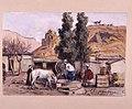 El Kantara 17 mars 1886 . Algeriet. Några män vevar upp vatten till sina hästar - Nordiska museet - NMA.0037307.jpg