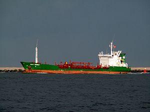 Ella Wonsild IMO 8806046 leaving Port of Rotterdam, Holland 11-Feb-2006.jpg
