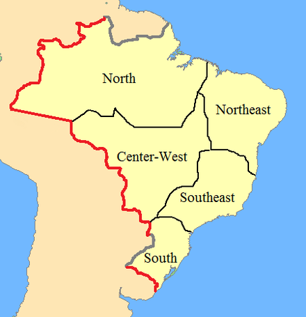 In red: Brazil's borders in 1889 as established by international treaties; In grey: borders still not recognized by the end of the Empire; In black: geographical regions within Brazil after the Empire Empire of brazil frontiers 1889 (edit).png