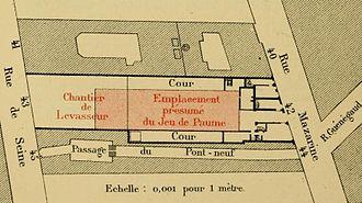 Salle de la Bouteille - Presumed plan of the theatre near the Passage du Pont-Neuf (1886)