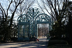 Bronx Zoo - Historical Fordham Road Entrance to the Bronx Zoo featuring Rainey Memorial Gates
