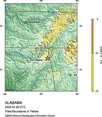 2003 Alabama earthquake - The epicenter of the 2003 Alabama earthquake. Source: United States Geological Survey