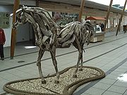 Driftwood sculpture of a horse, from the main entrance