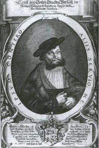 Principality of Lüneburg - Herzog Ernest the Confessor on a copperplate by P. Troscheli from the 17th century