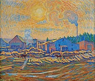 Ester Almqvist - Ester Almqvist,  The Sawmill, oil on canvas, 1914.