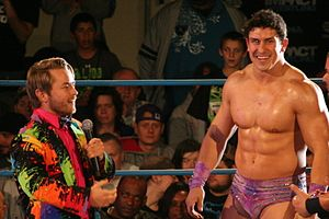 Ethan Carter III - Ethan Carter III (right) with 'Chief of Staff' Rockstar Spud (left) in April 2014