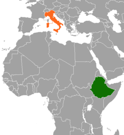 Map indicating locations of Ethiopia and Italy