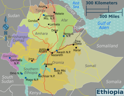 Ethiopia Regions Map Png