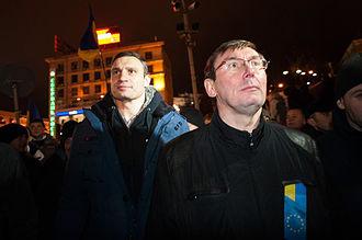 Timeline of the Euromaidan - Opposition leaders Vitali Klitschko and Yuriy Lutsenko stand with demonstrators on European Square