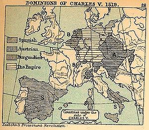 Italian War of 1521–26 - The territories controlled by Charles V in 1519