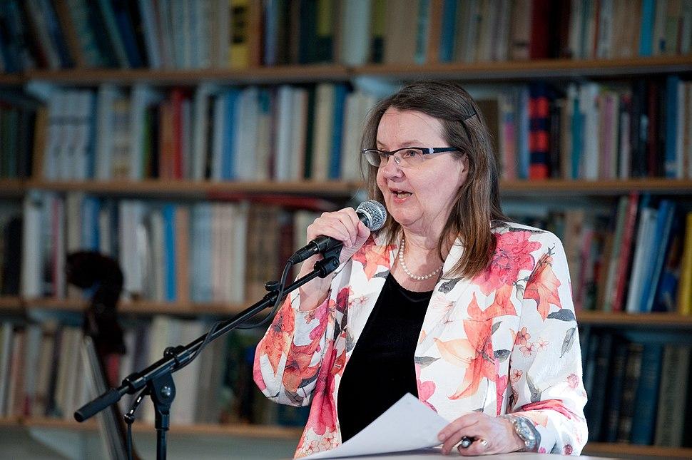 Eva Strom, forfattare och ordforande i bedomningskomitten till Nordiska radets litteraturpris 2011. Vid ett litteratur seminarium i Oslo 2011-04-1