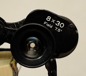 Exit pupil - The exit pupil appears as a white disc on the eyepiece lens of these 8×30 binoculars. Its diameter is 30 ÷ 8 = 3.75 mm.