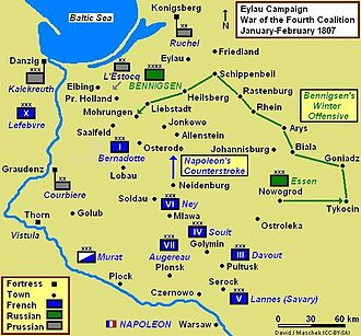 Battle of Eylau - The Eylau campaign map shows movements up to the Battle of Mohrungen on 25 January. German names are used for East Prussian towns. See text for Polish names.