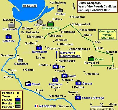 Eylau Campaign Map 1807