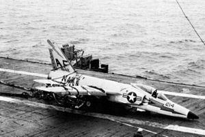 F11F VF-33 barrier crash on USS Intrepid (CVA-11) c1960.jpg