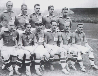 Finland national football team - National team against Denmark in 1933.