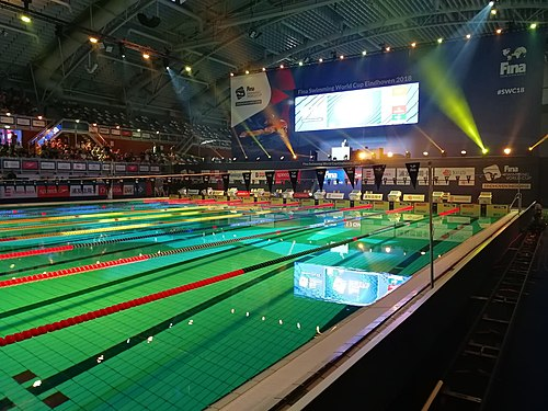 The venue for the FINA Swimming World Cup in Eindhoven before start of the event. FINA Swimming World Cup Venue Eindhoven.jpg