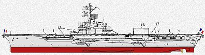 1: canon de 100 mm; 13: conduites de tir DRBC-31; 16: Nappes HF; 17: coupée de mer