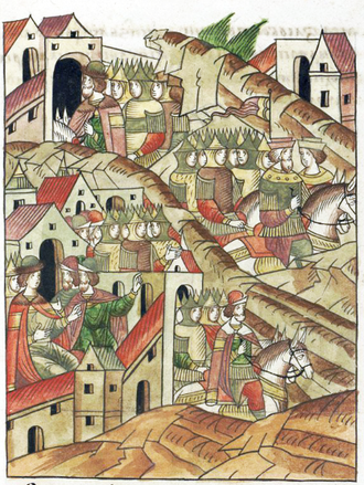 Lithuanian–Muscovite War (1368–1372) - Algirdas retreats from Moscow in 1370 (from the Illustrated Chronicle of Ivan the Terrible)