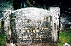 John Hope Simpson - Image: Fact Findings, fieldwork, gravestone inscription, shared grave, J O Williams and Ethel Kate Williams nee Cobb