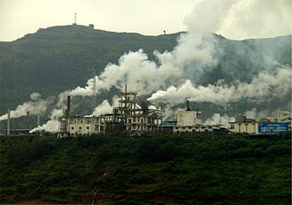 Industry of China - Industrial plants, causing air pollution, near the Yangtze River.