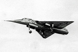 Fairey Delta 2 - The first Delta 2 WG774 in its original design format landing at Farnborough in 1956 during that year's SBAC Show using its 'droop snoot'