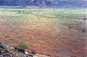 Fairy circle (arid grass formation) - Fairy circles in the Marienflusstal area in Namibia