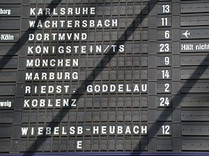 Split-flap display - Section of a split-flap display board at Frankfurt (Main) Hauptbahnhof (taken April 2005).