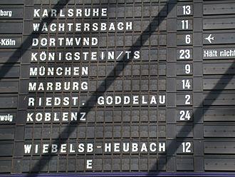 Split-flap display - Section of a split-flap display board at Frankfurt (Main) Hauptbahnhof (taken April 2005).