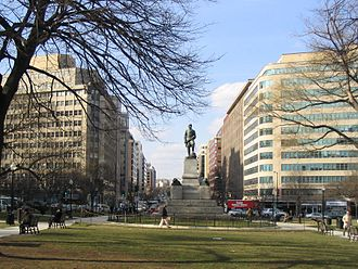 Downtown, Washington, D.C. - Farragut Square Park, in downtown Washington, D.C., with office complexes visible behind.