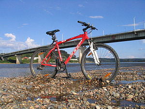 Felt Q650 bicycle on Tom river, Siberia.